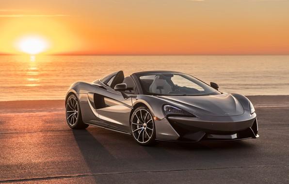 Картинка закат, побережье, McLaren, суперкар, 2018, Spider, 570S