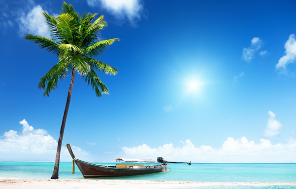 Картинка песок, море, пляж, солнце, пальмы, берег, лодка, summer, beach, sea, island, sand, paradise, palms, tropical