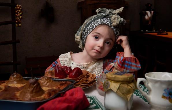 Картинка настроение, девочка, блины, Масленица