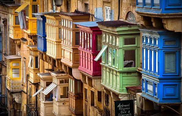 Картинка Malta, Valletta, Traditional colourful balconies