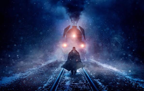 Картинка cinema, blizzard, smoke, snow, man, movie, train, film, suit, mustache, tie, Kenneth Branagh, Murder on …