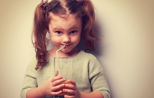 Картинка настроение, сок, девочка, juice, beautiful, child, мимика, Little girl