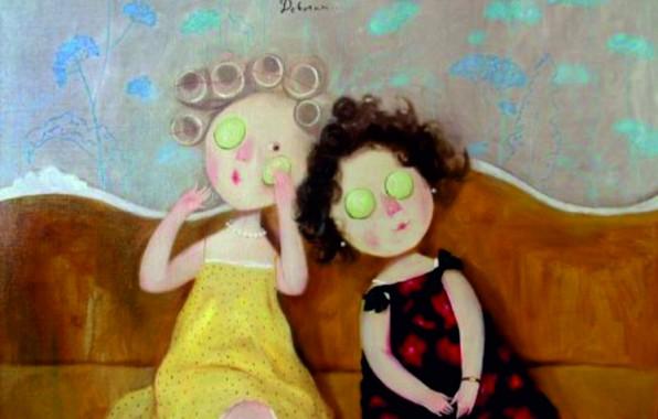 Картинка девочки, бигуди, Гапчинская, огурцовая маска