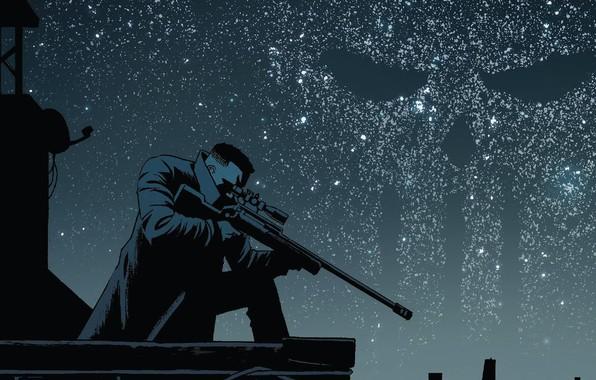 Картинка Небо, Ночь, Звезды, Череп, Оружие, Крыша, Комикс, Плащ, Sky, Stars, Убийца, Punisher, Skull, Night, Символ, ...