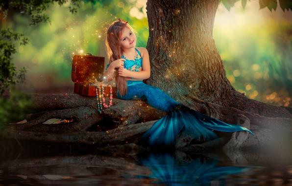Картинка природа, русалка, девочка