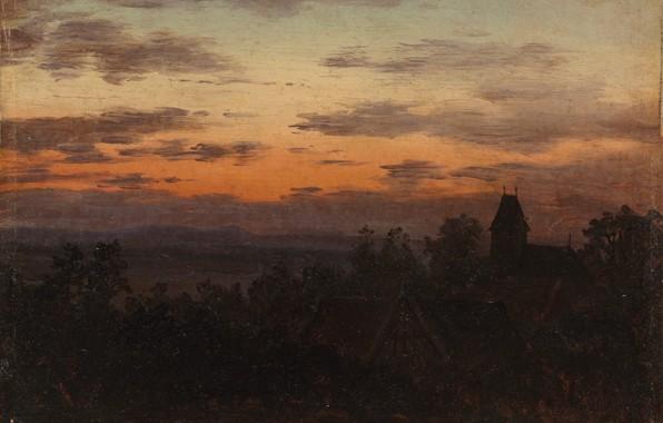 Картинка Пейзаж, Карл Густав Карус, 1830, при заходе солнца