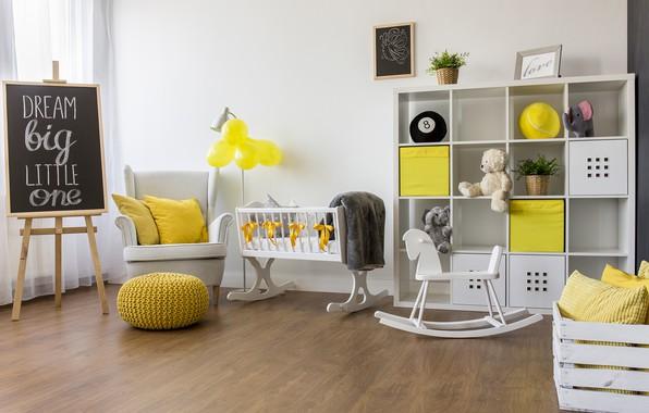 Картинка комната, игрушки, доска, детская, кроватка