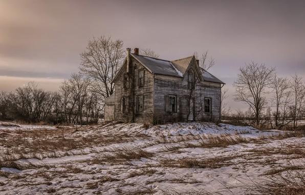 Картинка поле, снег, дом