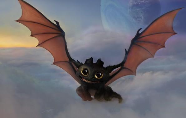 Картинка облака, планета, арт, дракончик, Беззубик, Как приручить дракона, ночная фурия, фЭнтези, 丝 铁