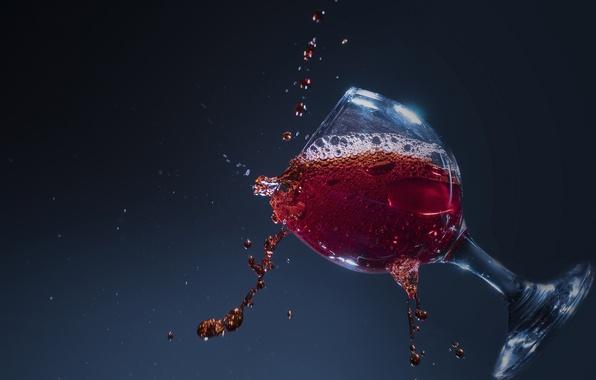 Картинка капли, макро, брызги, фон, вино, бокал