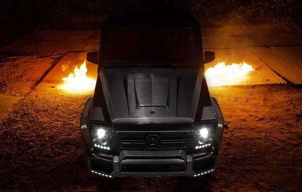 Картинка Mercedes, Carbon, AMG, Black, Exhaust, Flames, G65
