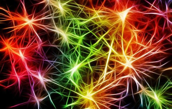 Фото обои Нейроны, разноцветный, пульс, арт, абстракция