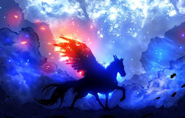 Картинка белый, космос, облака, оранжевый, синий, желтый, розовый, голубой, черный, молнии, крылья, крыло, силуэт, space, пегас, …