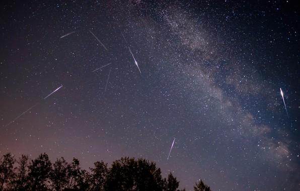 Картинка космос, звезды, падение, персеиды