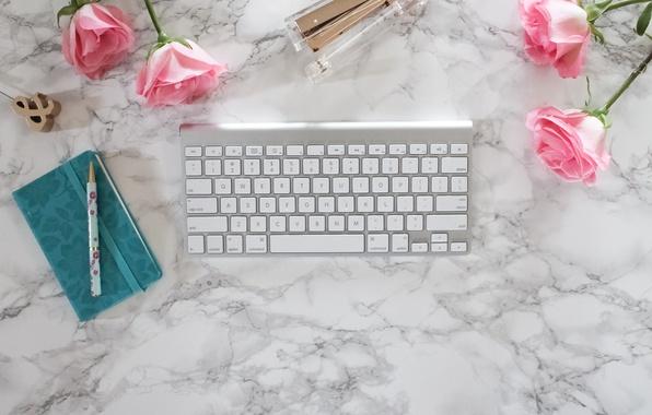 Картинка розы, ручка, блокнот, pink, flowers, roses, keyboard, marble