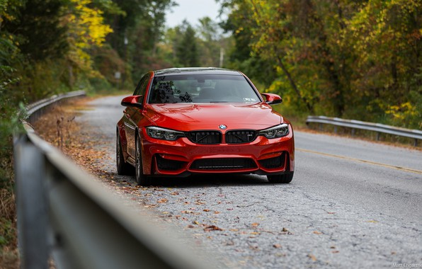 Картинка BMW, Autumn, Road, RED, Forest, F80
