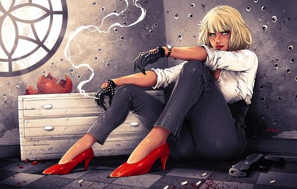 Картинка девушка, пистолет, Charlize Theron, блондинка, сигарета, туфли, art, брюки, Lorraine Broughton, Atomic Blonde