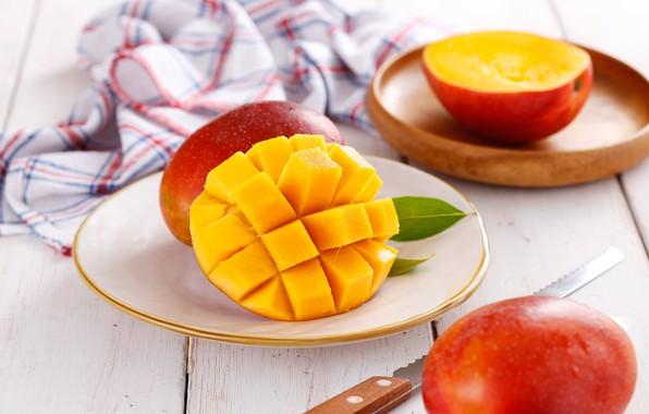 Картинка нож, манго, салфетка