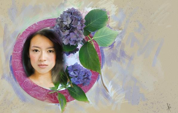 Картинка взгляд, листья, девушка, цветы, лицо, фон, милая, рисунок, графика, портрет, обработка, светлый, картина, актриса, брюнетка, …