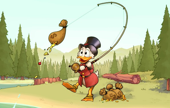 Картинка лес, золото, рыбалка, монеты, Disney, удочка, Scrooge McDuck, Duck Tales