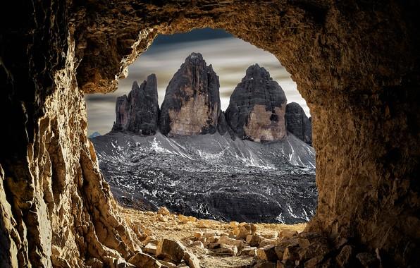 Картинка горы, скалы, Италия, пещера, грот, Доломитовые Альпы
