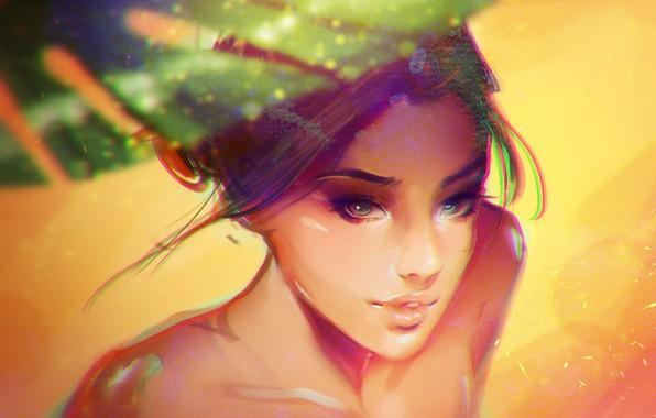 Картинка песок, лицо, зонт, губки, плечи, art, на пляже, солнечный свет, портрет девушки, Partaytoes