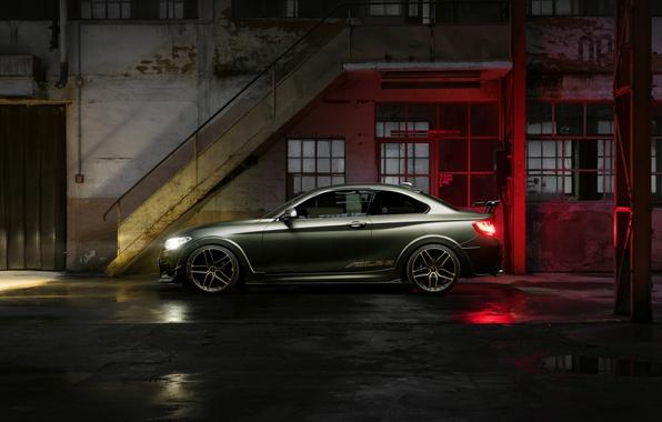 Картинка Отражение, BMW, Машина, Свет, Бампер, Окна, Здание, Двери, Фары, Диски, Лужи, ACL2S, M240i