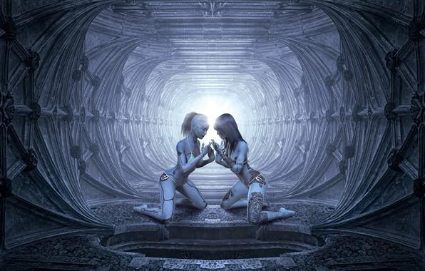 Картинка свет, пространство, будущее, рендеринг, серый, фон, люди, фантастика, девушки, голубой, две, человек, технологии, тату, арт, …