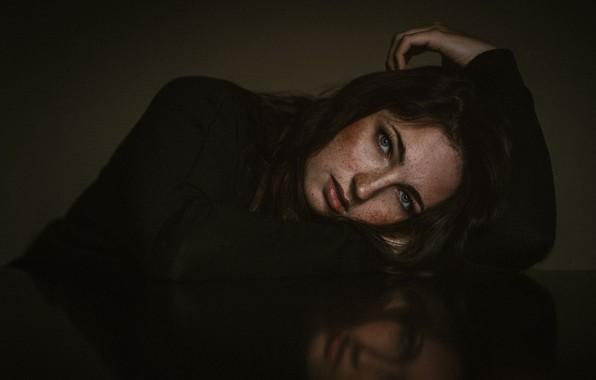 Картинка взгляд, лицо, волосы, портрет, веснушки, конопатая, Mara Reif, Oliver Döll