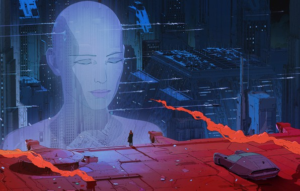Картинка city, future, fantasy, science fiction, machine, man, sci-fi, movie, digital art, buildings, film, artwork, skyscrapers, …