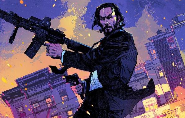 Фото обои John Wick, strong, John Wick: Chapter 2, Keanu Reeves, rifle, man, cinema, film, pistol, weapon, ...
