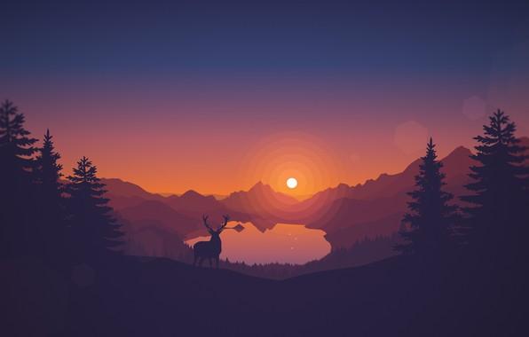 Картинка Закат, Солнце, Вечер, Горы, Игра, Озеро, Лес, Вид, Холмы, Олень, Пейзаж, Арт, Campo Santo, Firewatch, …