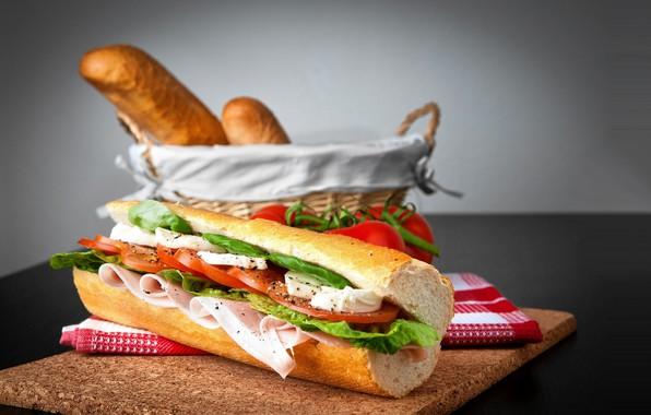 Картинка фон, корзина, сыр, хлеб, бутерброд, помидор, ветчина