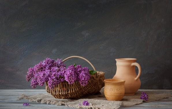 Картинка цветы, букет, Корзина, кувшин, сирень