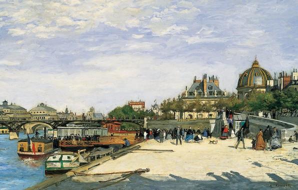 Картинка река, картина, Сена, городской пейзаж, Мост Искусств. Париж, Пьер Огюст Ренуар, Pierre Auguste Renoir