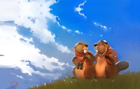 Картинка лето, небо, рисунок, арт, art, Александра Хитрова, GaudiBuendia, Бобры мечтатели