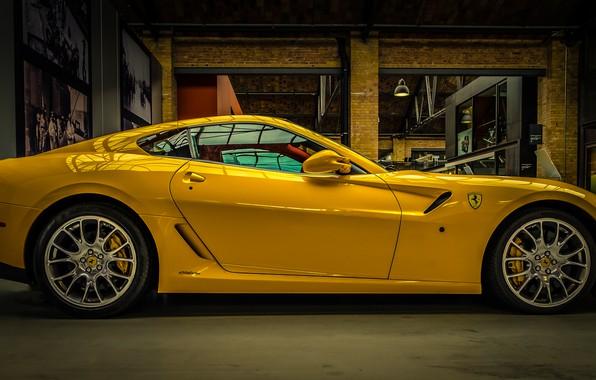 Картинка жёлтый, Ferrari, суперкар