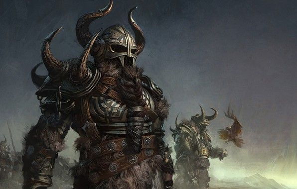 Картинка fantasy, armor, bird, digital art, artwork, warrior, fantasy art, helmet, Barbarian, beard, horn, bird of …