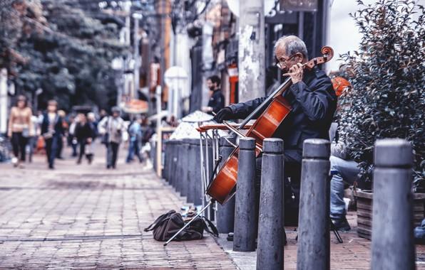 Картинка music, street, chello