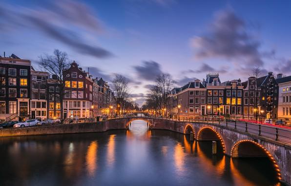 Картинка мост, огни, вечер, Амстердам, канал, Нидерланды, Amsterdam, Голландия