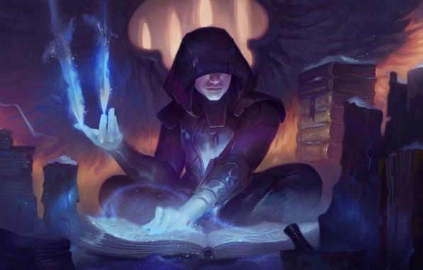 Картинка fantasy, magic, wings, angel, artist, artwork, wizard, fantasy art, flames, books, sorcerer, hood, magician, symbols, …
