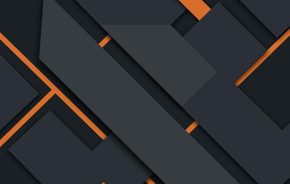Обои линии абстракция геометрия Black Design Orange