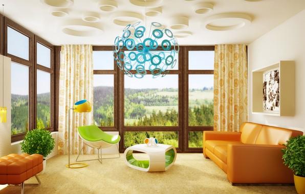 Картинка цветы, комната, мебель, интерьер, гостиная, вазы, room, interior, Modern