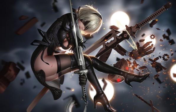Картинка девушка, оружие, игра, арт, yorha unit no. 2 type b, nier: automata