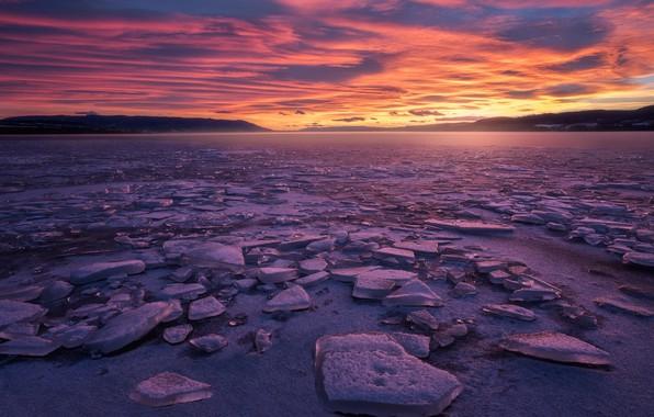 Картинка зима, природа, озеро, лёд, вечер