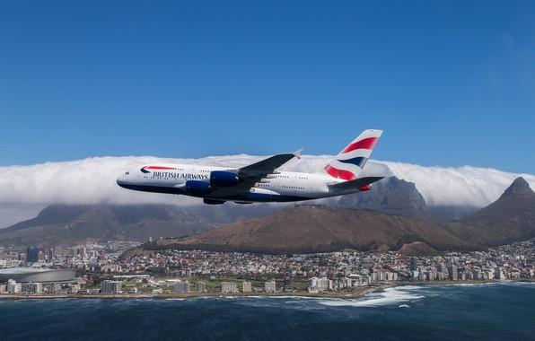 Картинка море, небо, город, полёт, Airbus, Аэробус, British Airways, А380, A-380