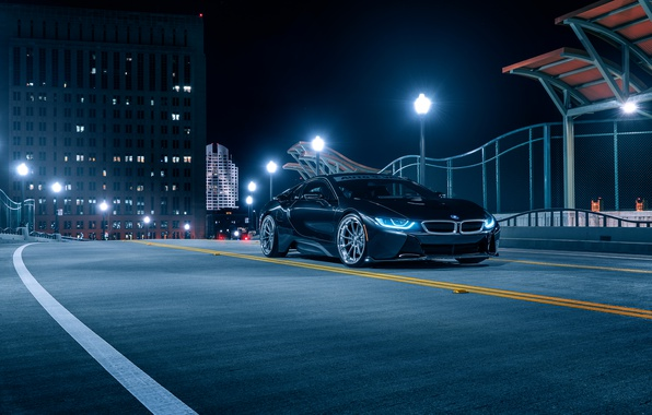 Картинка BMW, Front, Black, Night, Collection, Aristo, i8