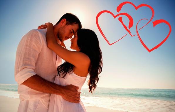 Картинка море, пляж, небо, девушка, солнце, сердца, горизонт, объятия, красные, парень, День святого Валентина, в белом, …
