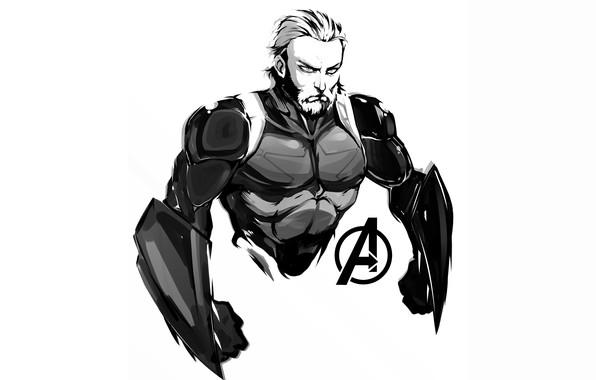 Картинка Рисунок, Взгляд, Герой, Супергерой, Hero, Арт, Art, Marvel, Капитан Америка, Captain America, Comics, Steve Rogers, …