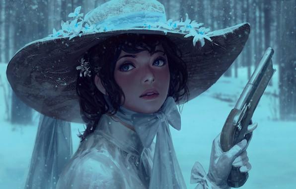 Картинка Girl, gun, pistol, dress, weapon, hat, art, blue eyes, snow, face, painting, brunette, digital art, …